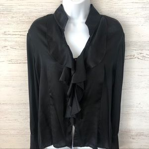 ST. JOHN Evening 100% Silk Black Ruffled Blouse